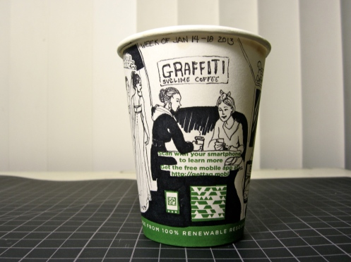 Also Wednesday: Meet with friend for coffee at Graffiti Sublime Coffee. Acquire coffee cup.