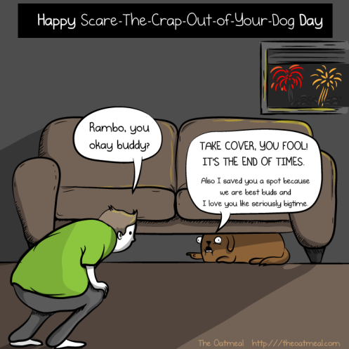 Freedom from fear: unless you're a pet then it's Cower-Under-The-Couch day